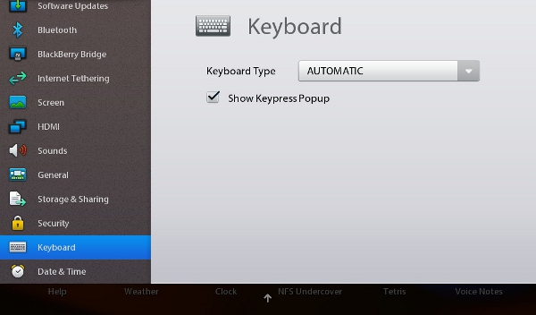BlackBerry PlayBook tablet - options setup