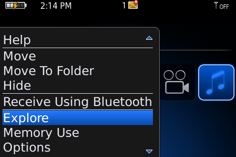 File Explorer on BlackBerry smartphone