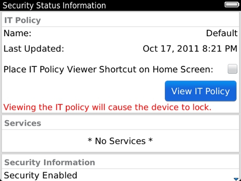 BlackBerry smartphone IT policy